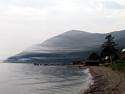 The lake in the summer, as seen from Bolshiye Koty on the southwest shore.