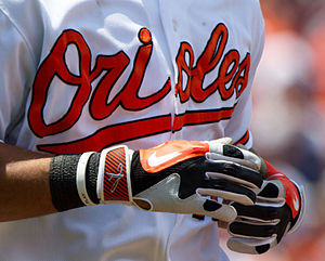 Batting glove - Most baseball players wear batting gloves.