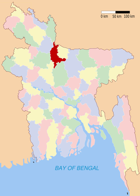 Localisation du district au Bangladesh