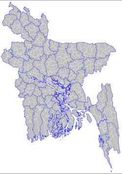 Upazilas of Bangladesh, divided by white lines
