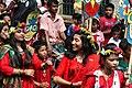 Bangladeshi girls wearing draping sari with flower crown at Pohela Boishakh celebration 2016 (01).jpg