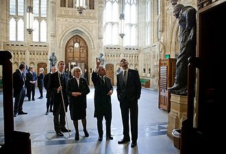 Lord Great Chamberlain - The Lord Great Chamberlain, the Marquess of Cholmondeley (left), holding his white staff of office; the Lord Speaker, Baroness Hayman; and the Speaker of the House of Commons, John Bercow showing US President Barack Obama around Members' Lobby during a tour of the Palace in May 2011