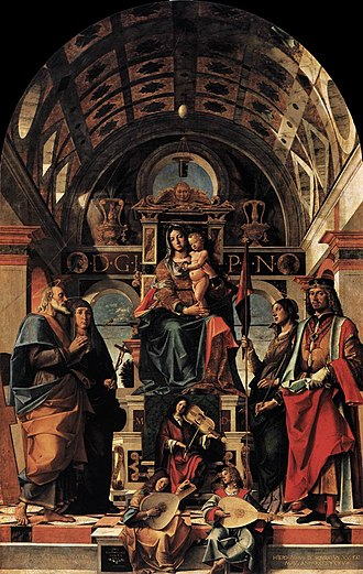Bartolomeo Montagna - Madonna and Child Enthroned with Saints from San Michele (c. 1497-1499)