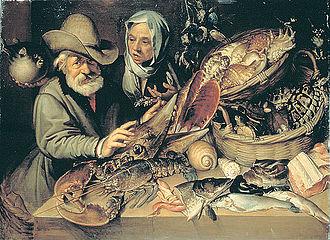 Fishmonger - A 16th-century fishmongers stall. Bartolomeo Passarotti.