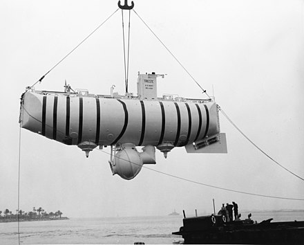 In 1960, Jacques Piccard and Don Walsh were the first people to explore the deepest part of the world's ocean, and the deepest location on the surface of the Earth's crust, in the Bathyscaphe Trieste designed by Auguste Piccard. Bathyscaphe Trieste.jpg