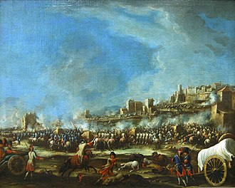 The Battle of Bitonto between the Spanish Bourbons and Austrian Habsburgs Battle of Bitonto by Giovanni Luigi Rocco.jpg