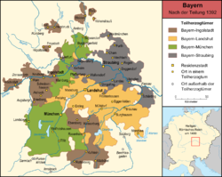 Bavaria-Landshut (orange), with Bavaria-Munich (green), Bavaria-Ingolstadt (brown) and Bavaria-Straubing (grey); from 1392.