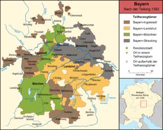 Bavaria-Munich - Bavaria-Munich (green) with Bavaria-Landshut (orange), Bavaria-Ingolstadt (brown) and Bavaria-Straubing (grey).