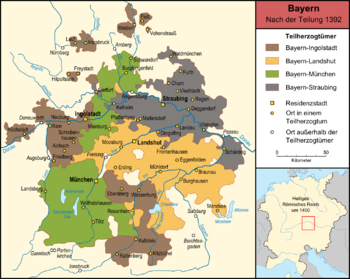 The four Bavarian partial duchies (including the Straubinger Ländchen not affected by the division) after the division of 1392