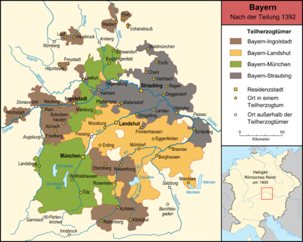The Bavarian duchies after the partition of 1392