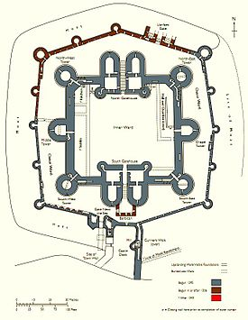 Beaumaris Castle Wikipedia - Diagram of medieval castle layout