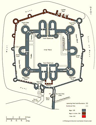 Concentric castle - Plan of Beaumaris Castle (Wales)