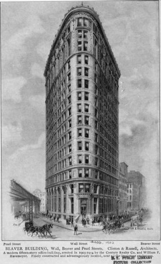 1 Wall Street Court - Engraving of the Beaver Building published in 1905
