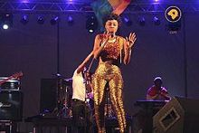 Becca performing at the Meet Ghana hub in Natal during the 2014 FIFA World Cup.