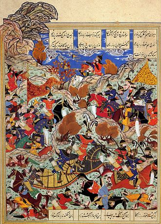Herat - Battleground of Timur and Egyptian King, by Kamāl ud-Dīn Behzād Herawī, a famous painter from Herat, c. 1494-1495, Timurid era