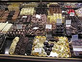 Photo d'une boutique de chocolats à Antwerpen en Belgique.