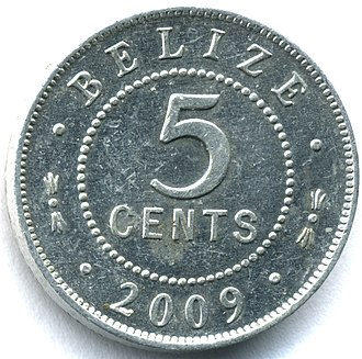 Coins of the Belize dollar - Image: Belize 05cent 2009rev