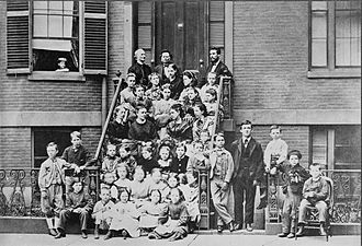 "Alexander Graham Bell - Bell, top right, providing pedagogical instruction to teachers at the Boston School for Deaf Mutes, 1871. Throughout his life, he referred to himself as ""a teacher of the deaf""."