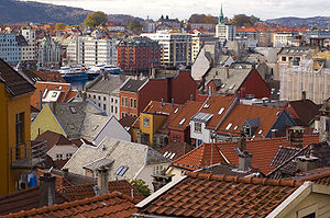 Roofs in the city centre of Bergen, Norway.