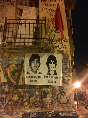 Berkin Elvan - Banner placed in Greece, in March of 2014 at the place where Alexis Grigoropoulos got shot in Exarchia, Athens.