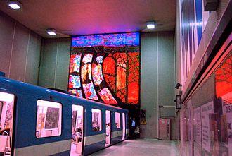 Berri-UQAM station - The Hommage aux fondateurs de la ville de Montréal mural