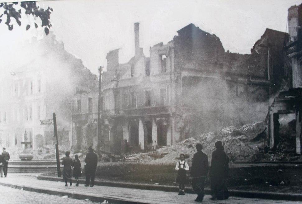 Białystok smouldering ruins 1941