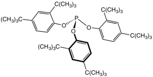 Stabilizer for polymers - Tris(2,4-di-tert-butylphenyl)phosphite, a phosphite widely used as a secondary antioxidant in polymers.