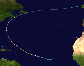 Westerlies - Storm track of Hurricane Bill (2009), showing a classic recurvature off the American coast in 2009