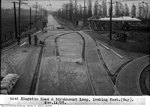 Toronto and Scarboro' Electric Railway, Light and Power Company - This 1928 image shows the Birchmount Loop under construction with the single track of the Scarboro radial line passing through.