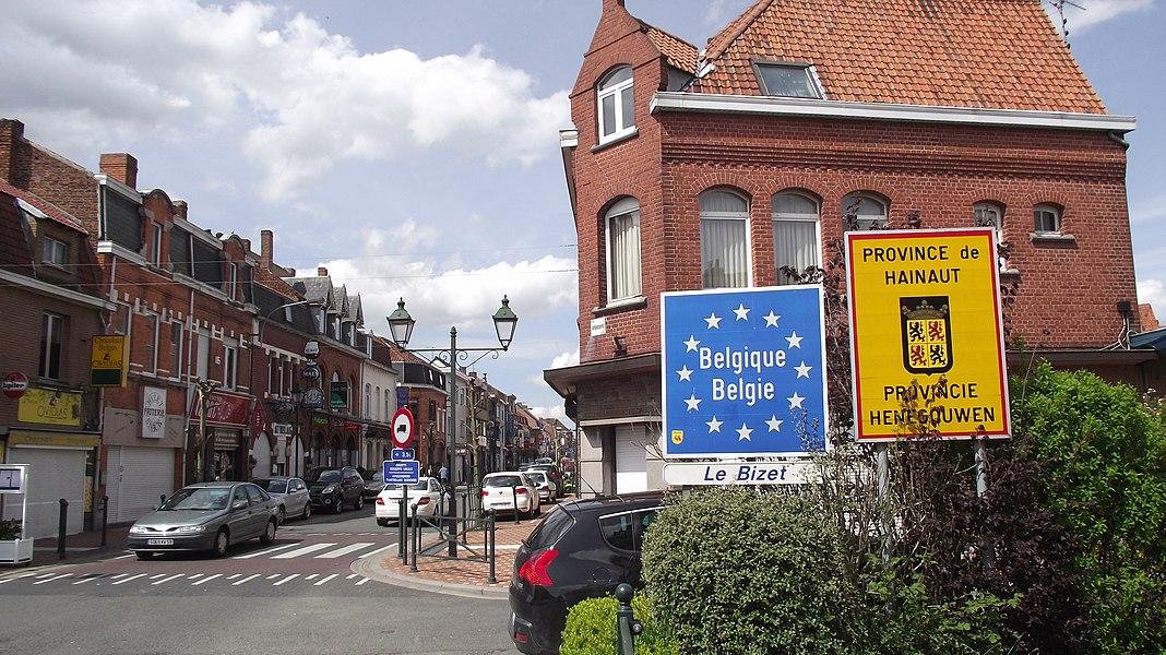 Grens Frankrijk België bij Bizet