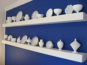 A milk glass collection.
