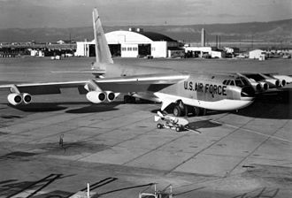 Boeing B-52 Stratofortress - A B-52D with anti-flash white on the under side