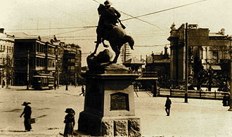 South African War Memorial (South Australia) - The memorial circa 1925, looking west along North Terrace.