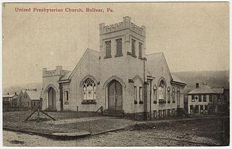 Bolivar, Pennsylvania - The United Presbyterian Church from a pre-1923 postcard