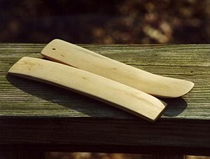 Bones (instrument) - A pair of musical bones carved from maple