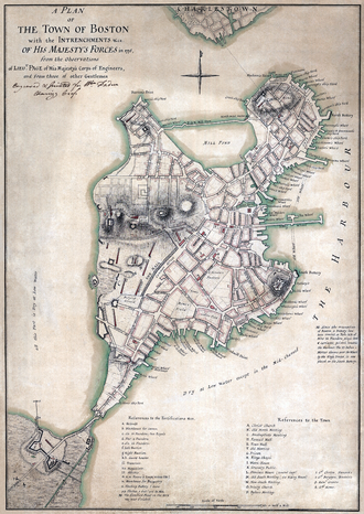 Fort Point, Boston - 1775 British map showing Fort Hill in the right-center