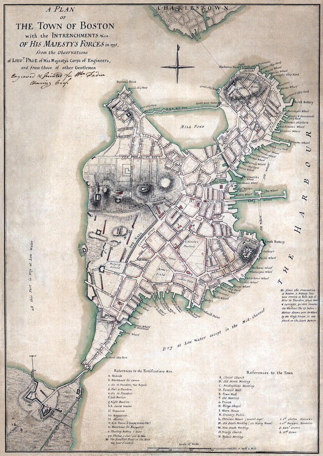 Plan de Boston en 1775.
