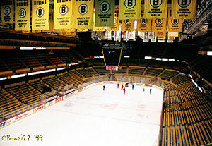 Boston Garden - Shot of the New York Rangers practicing in Boston Garden