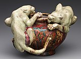 "Bowl with two panthers, glazed with ""Rouge Dalpayrat"""