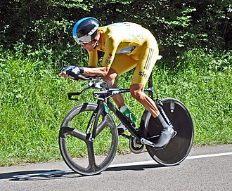 Yellow - Bradley Wiggins wears the yellow jersey in the 2012 Tour de France.