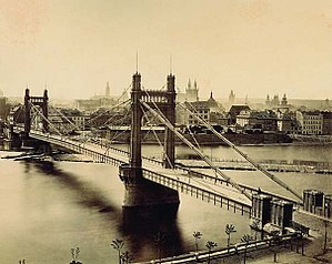 Albert Bridge, London - The 1868 Franz Joseph Bridge in Prague was built to the proposed design of the future Albert Bridge.