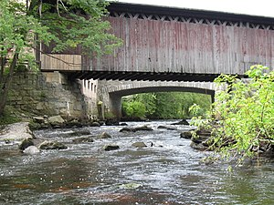 Contoocook River - Covered railroad bridge in village of Contoocook, New Hampshire