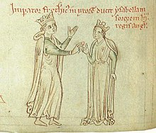 A drawing depicting a young man who wears a crown as giving a ring to a young woman who also wears a crown.