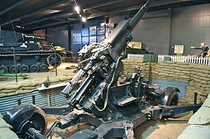 76th Anti-Aircraft Brigade (United Kingdom) - 3.7 inch HAA gun preserved at Imperial War Museum, Duxford. Used in HAA and medium roles in Normandy.