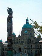 British Columbia legislature building with totem pole