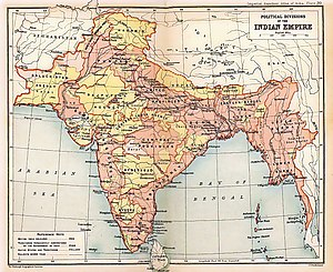 British Raj - 1909 Map of the British Indian Empire, showing British India in two shades of pink and the princely states in yellow.
