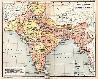 Presidencies and provinces of British India - A map of the British Indian Empire in 1909 during the partition of Bengal (1905–1911), showing British India in two shades of pink (coral and pale) and the princely states in yellow.