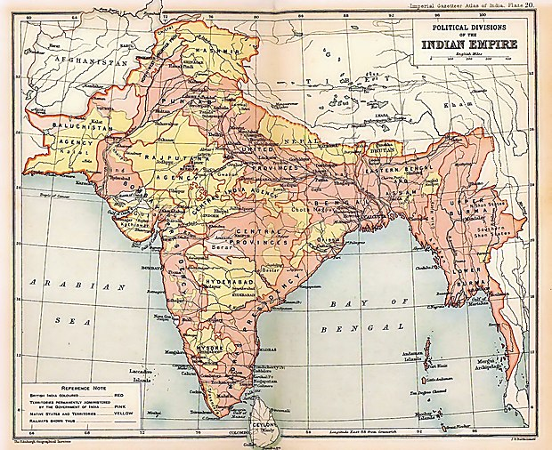 A map of the British Indian Empire in 1909 during the partition of Bengal (1905-1911), showing British India in two shades of pink (coral and pale) and the princely states in yellow. The Assam Province (initially as the Province of Eastern Bengal and Assam) can be seen towards the north-eastern side of India. British Indian Empire 1909 Imperial Gazetteer of India.jpg