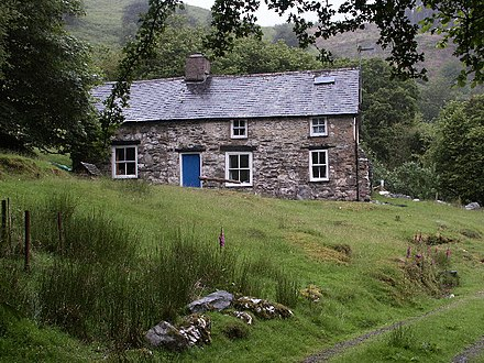 Bron-Yr-Aur, near Machynlleth, the Welsh cottage to which Page and Plant retired in 1970 to write many of the tracks that appeared on the band's third and fourth albums Bron-y-aur - geograph.org.uk - 21107.jpg