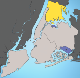 Situation de l'arrondissement du Bronx(Le reste de la ville de New York